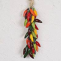 Ceramic decorative accent, 'Serrano Bunch' - Ceramic Serrano Pepper Decorative Ristra from Mexico