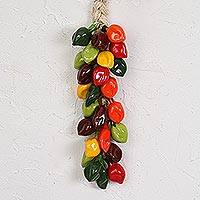 Ceramic decorative accent, 'Habanero Bunch' - Ceramic Habanero Pepper Decorative Ristra from Mexico