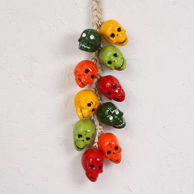 Ceramic decorative accent, 'Bunch of Festive Skulls' - Ceramic Skull Decorative Accent from Mexico