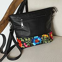 Cotton accent leather shoulder bag, 'Sophisticated Bouquet' - Embroidered Cotton Accent Black Leather Sling from Mexico