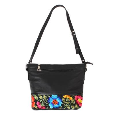 Embroidered Cotton Accent Black Leather Sling from Mexico
