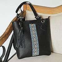 Leather tote, 'Cultural Mexico' - Glass Beaded Leather Tote in Black from Mexico