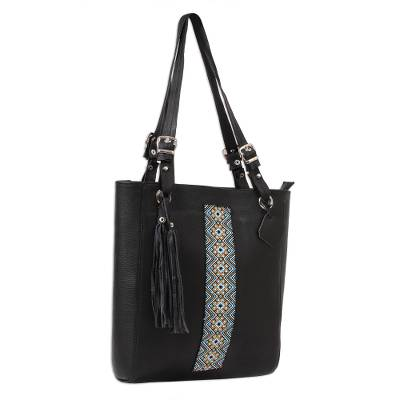 Glass Beaded Leather Tote in Black from Mexico