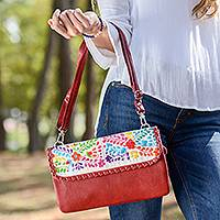 Cotton accent leather sling, 'Floral Oaxaca' - Floral Cotton Accent Claret Leather Sling from Mexico