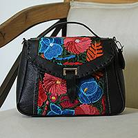 Cotton accent leather shoulder bag, 'Traditional Bouquet' - Floral Cotton Accent Leather Sling from Mexico