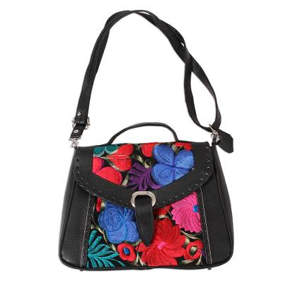 Floral Cotton Accent Leather Sling from Mexico