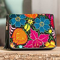 Embroidered leather sling, 'Chiapas Bouquet' - Leather Sling with Floral Embroidered Accent from Mexico