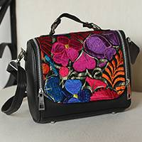 Cotton accent leather handbag, 'Oaxaca Delight' - Cotton Accent Leather Handbag from Mexico