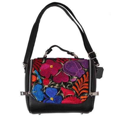 Cotton Accent Leather Handbag from Mexico