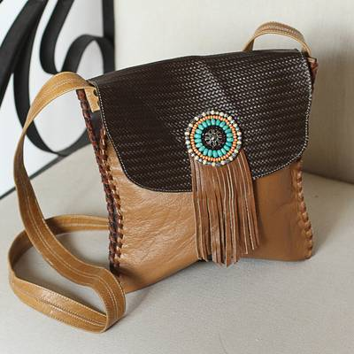 Leather sling, 'Bohemian Spice' - Bohemian Leather Sling in Spice from Mexico