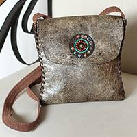 Leather sling, 'Bohemian Texture' - Handcrafted Leather Sling in Burnt Sienna from Mexico
