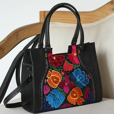 Leather shoulder bag with embroidered accent, 'Bouquet of Oaxaca' - Leather Shoulder Bag with Embroidered Accent from Mexico