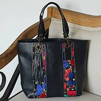 Cotton accent leather tote, 'Chiapas Beauty'