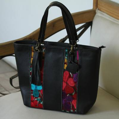 Cotton accent leather tote, 'Chiapas Beauty' - Floral Cotton Accent Blue Leather Tote from Mexico