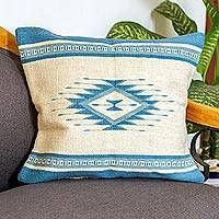 Wool cushion cover, 'Zapotec Azure' - Zapotec Wool Cushion Cover in Azure and Antique White