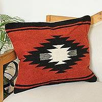 Wool cushion cover, 'Zapotec Russet' - Handwoven Zapotec Wool Cushion Cover in Russet from Mexico