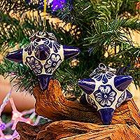 Ceramic ornaments, 'Floral Pinatas' (pair) - Floral Ceramic Ornaments in White and Blue (Pair)