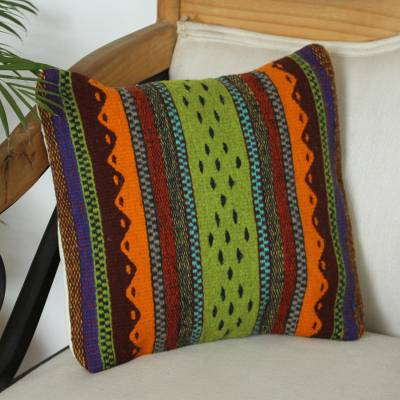 Zapotec wool cushion cover, 'Zapotec Colors' - Multicolored Zapotec Wool Cushion Cover from Mexico