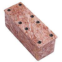 Marble domino set, 'Victorious Chance' (6 inch) - Pink Marble Domino Set from Mexico (6 Inch)