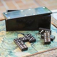Onyx domino set, 'Fascinating Challenge' - Grey Onyx Domino Set from Mexico