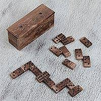 Marble domino set, 'Rise to the Challenge' - Brown Marble Domino Set from Mexico