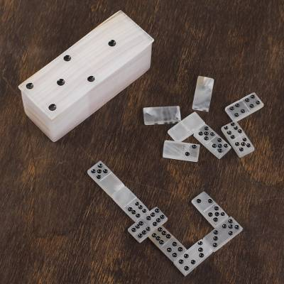 Onyx domino set, 'Relaxing Game' (6 inch) - Ivory Onyx Domino Set from Mexico (6 Inch)