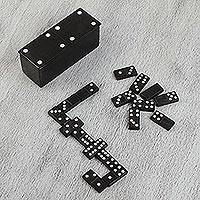 Onyx domino set, 'Sophisticated Game' - Black Onyx Domino Set from Mexico