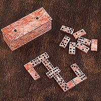 Marble domino set, 'Chance and Skill' - Pink Marble Domino Set from Mexico