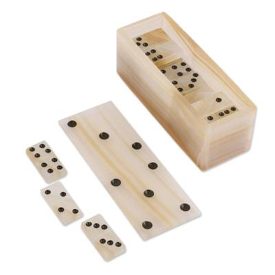 Onyx domino set, 'Never Lose' - Beige Onyx Domino Set from Mexico