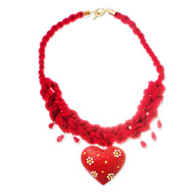Heart-Shaped Wood Braided Pendant Necklace from Mexico