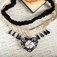 Wood braided pendant necklace, 'Flower of My Heart' - Black and White Floral Wood Braided Pendant Necklace