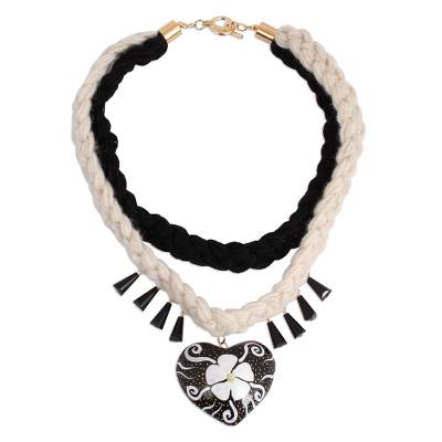 Black and White Floral Wood Braided Pendant Necklace