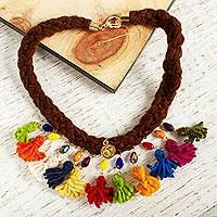 Wool braided pendant necklace, 'Sweetness of My Country' - Multicolored Wool Braided Pendant Necklace from Mexico
