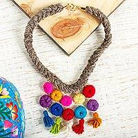 Wool braided pendant necklace, 'Colorful Sweetness' - Colorful Wool Braided Pendant Necklace from Mexico