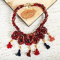Wool braided pendant necklace, 'Marvelous Tassels' - Wool Braided Pendant Necklace with Glass Beads from Mexico