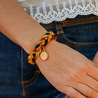 Gold plated wool braided wristband bracelet, 'Glorious Saint Benedict' - Saint Benedict Gold Plated Wool Braided Wristband Bracelet