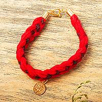 Gold plated wool braided wristband bracelet, 'Red Saint Benedict' - Religious Gold Plated Wool Braided Wristband Bracelet