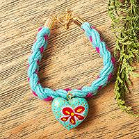 Wood braided wristband bracelet, 'My Heart Blooms' - Heart-Shaped Wood Braided Wristband Bracelet from Mexico