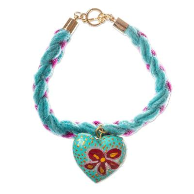 Heart-Shaped Wood Braided Wristband Bracelet from Mexico