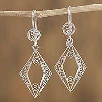 Sterling silver filigree dangle earrings, 'Rain of Diamonds' - Diamond-Shaped Sterling Silver Filigree Dangle Earrings