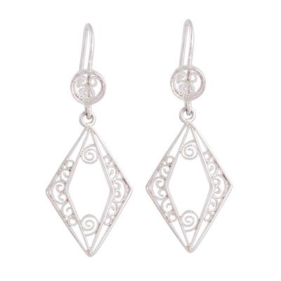 Diamond-Shaped Sterling Silver Filigree Dangle Earrings