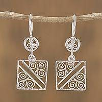 Sterling silver filigree dangle earrings, 'Fluid Wind' - Square Sterling Silver Filigree Dangle Earrings from Mexico