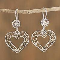 Sterling silver filigree dangle earrings, 'Heart in Your Hands' - Heart-Shaped Sterling Silver Filigree Dangle Earrings