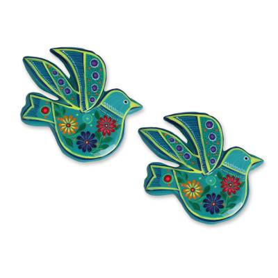 Ceramic ornaments, 'Delightful Doves in Teal' (pair) - Teal and Colorful Floral Motif Ceramic Dove Ornaments (Pair)