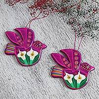 Ceramic ornaments, 'Fuchsia Doves' (pair)