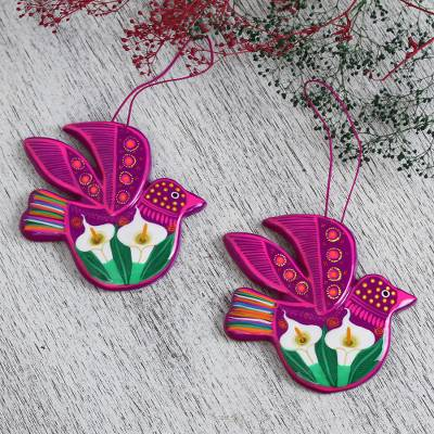 Ceramic ornaments, 'Fuchsia Doves' (pair) - White Flowers on Magenta Ceramic Dove Ornaments (Pair)