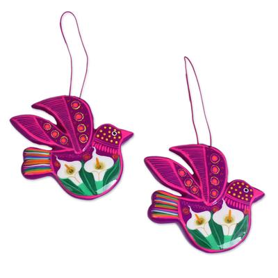 Ceramic ornaments, 'Fuchsia Doves' (pair) - White Flowers on Magenta Ceramic Dove Ornaments (Pair)
