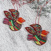 Ceramic ornaments, 'Multicolored Doves' (pair) - Multi-Color Hand Painted Ceramic Dove Ornaments (Pair)