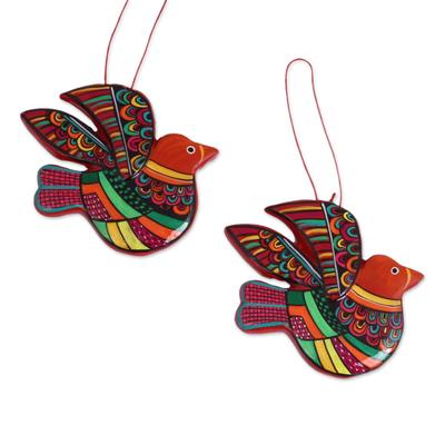 Ceramic ornaments, 'Multicolored Doves' (pair) - Multi-Color Hand Painted Ceramic Dove Ornaments (Pair)