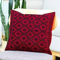 Cotton cushion cover, 'Crimson Delight' - Handwoven Cotton Cushion Cover in Crimson and Black